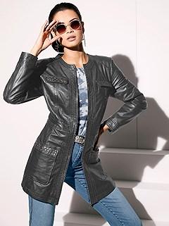 Stud Detail Leather Jacket product image (406784.BK.1.2)