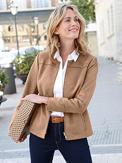 Faux Suede Zip Up Jacket product image (406785.CG.1.1)