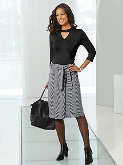 Glencheck Patterned Skirt product image (406934.BK.1.8_WithBackground)