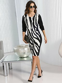 Zebra Print Dress product image (407003.BKWH.2.2)