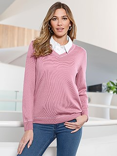V-Neck Long Sleeve Sweater product image (407061.RS.2.8_WithBackground)