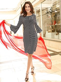 Bell Sleeve Stripe Dress product image (407559.BKWH.1)
