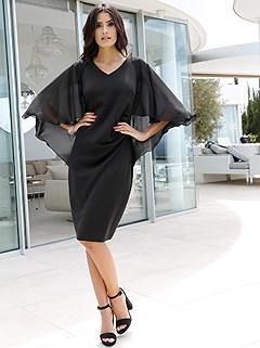 V-Neck Cape Dress product image (407838.BK.2)