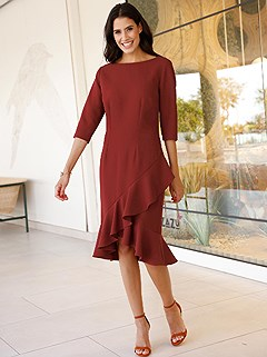 Asymmetrical Ruffle Dress product image (407938.RD.1)