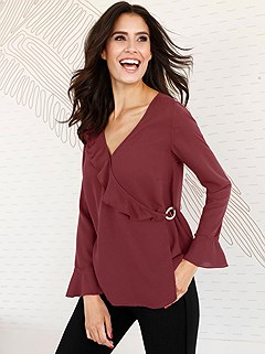 Ruffle Wrap Blouse product image (407939.RD.001S)
