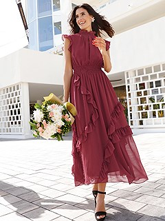 High Neck Ruffle Dress product image (407959.RD.1)