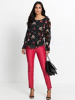 Flounce Sleeve Floral Blouse product image (409301.BKPA.2.2)