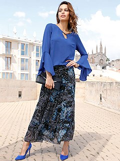 Tiered Printed Maxi Skirt product image (409807.RY.2-S)