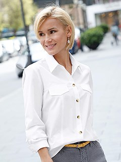 Faux Pocket Blouse product image (410007.WH.3.8_WithBackground)