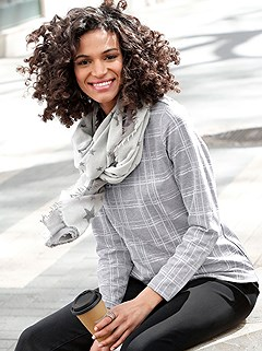 Checkered Long Sleeve Top product image (410080.P)