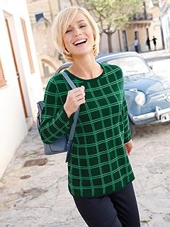 Round Neckline Checkered Sweater product image (410092.GRMU.1.4_WithBackground)