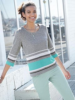 Color Block Striped Top product image (410140.GYST.3.14_WithBackground)