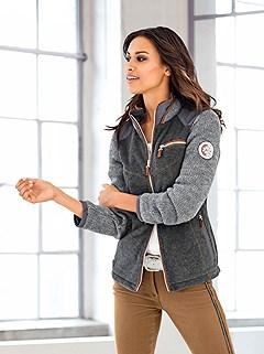 Knit Panel Fleece Cardigan product image (410523.GYMO.2.M)