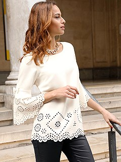 Laser Cut Floral Blouse product image (410533.VA.2.1_WithBackground)