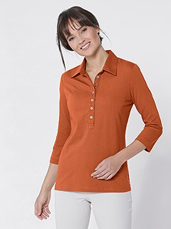Long Button Panel Polo Top product image (410965.TC.3.1_WithBackground)