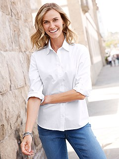 Tab Sleeve Button Down Blouse product image (411304.WH.4.P)