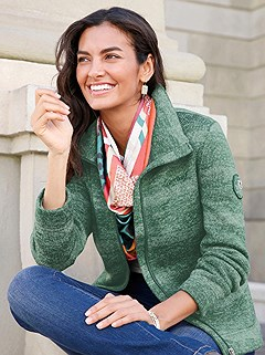 Fleece Lined Mottled Stripe Cardigan product image (412264.GRMO.1.10_WithBackground)
