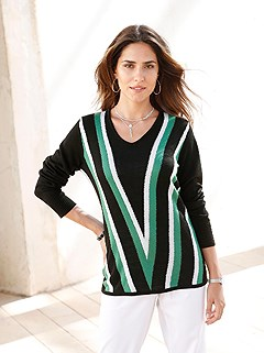 V-Stripe Sweater product image (416400.GRST.2.1_WithBackground)