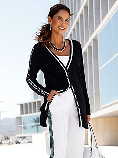 Full Length Button Panel Cardigan product image (417182.BKWH.1.M)