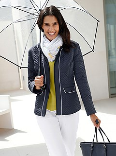 Quilted Rounded Neckline Jacket product image (417238.NV)