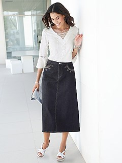 Embroidered Denim Midi Skirt product image (417243.DKBL.1.1_WithBackground)