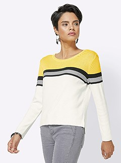 Fine Knit Color Block Sweater product image (417413.BKST.4.1_WithBackground)