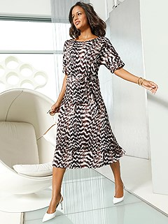 Feather Print Midi Dress product image (417421.CGMU.1.1_WithBackground)
