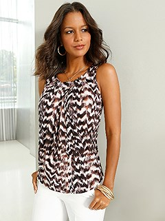 Feather Print Sleeveless Top product image (417425.CGMU.1.1_WithBackground)