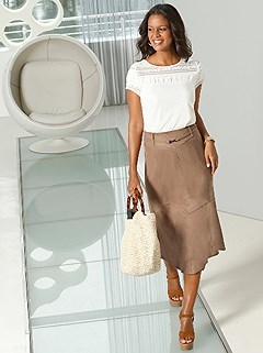 Suede Look Panel Midi Skirt product image (417426.CG.1.1_WithBackground)