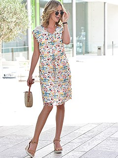 Airy Chiffon V-Neck Graphic Print Dress product image (417470.NAPR.1.1.P._Raw)