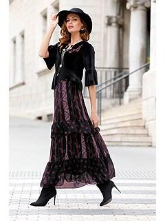 Multi Print Maxi Skirt product image (417622.BKEM.2.17_Raw)