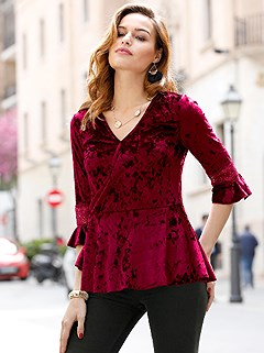 Flare Sleeve Velvet Peplum Top product image (417666.RD.2.1_WithBackground)