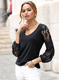 Lace Sleeve V-Neck Top product image (417669.BK.2.1_WithBackground)