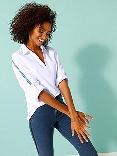 Low V-Neck Polo Blouse product image (417723.WH.2.2_WithBackground)