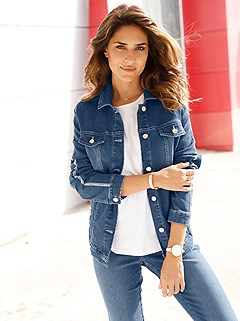 Shimmer Side Stripe Denim Jacket product image (417780.BLUS.2.1_WithBackground)