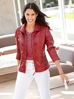 Classic Cut Leather Jacket product image (417901.DKRD.1.1_WithBackground)