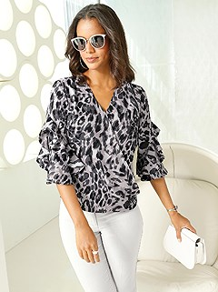 Wrap Look Leopard Print Blouse product image (417913.GYPA.1.1_WithBackground)