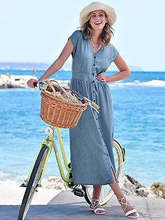 Short Sleeve Denim Maxi Dress product image (418177.DEBL.1.1_WithBackground)