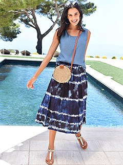 Batik Look Midi Skirt product image (418522.BLPA.1.1_WithBackground)