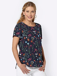 Rounded Hem Floral Blouse product image (419691.NVPR.3.1_WithBackground)