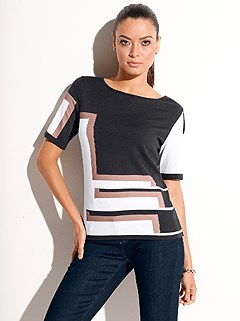 Jacquard Pattern Short Sleeve Sweater product image (420096.MULT.1.1_WithBackground)