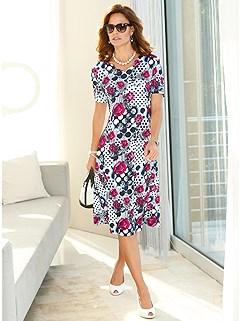 Mixed Print Midi Dress product image (420180.PKMU.1.1_WithBackground)