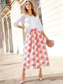 Lace Floral Print Maxi Skirt product image (420186.COWH.2.2_WithBackground)