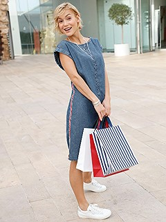 Denim Side Stripe Dress product image (420358.BLUS.1.2_WithBackground)