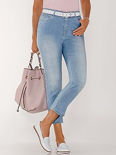Wash Effect Denim Capri Pants product image (420527.FADE.1.1_WithBackground)