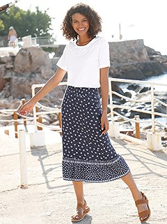 Flare Hem Floral Midi Skirt product image (420620.NVMU.1.1_WithBackground)