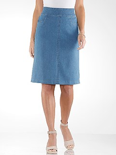 A-Line Denim Skirt product image (420799.FADE.3.1_WithBackground)