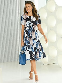 Paneled Skirt Floral Print Dress product image (420848.BKPR.1.1_WithBackground)