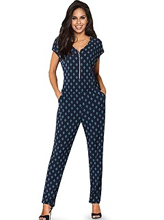 V-Neck Minimalistic Print Jumpsuit product image (420852.NVMT.4.1_WithBackground)