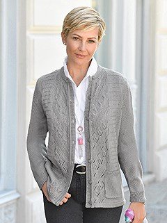 Ajour Knit Cardigan product image (423286.GY.1.1_WithBackground)